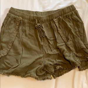 Dark green soft beach shorts